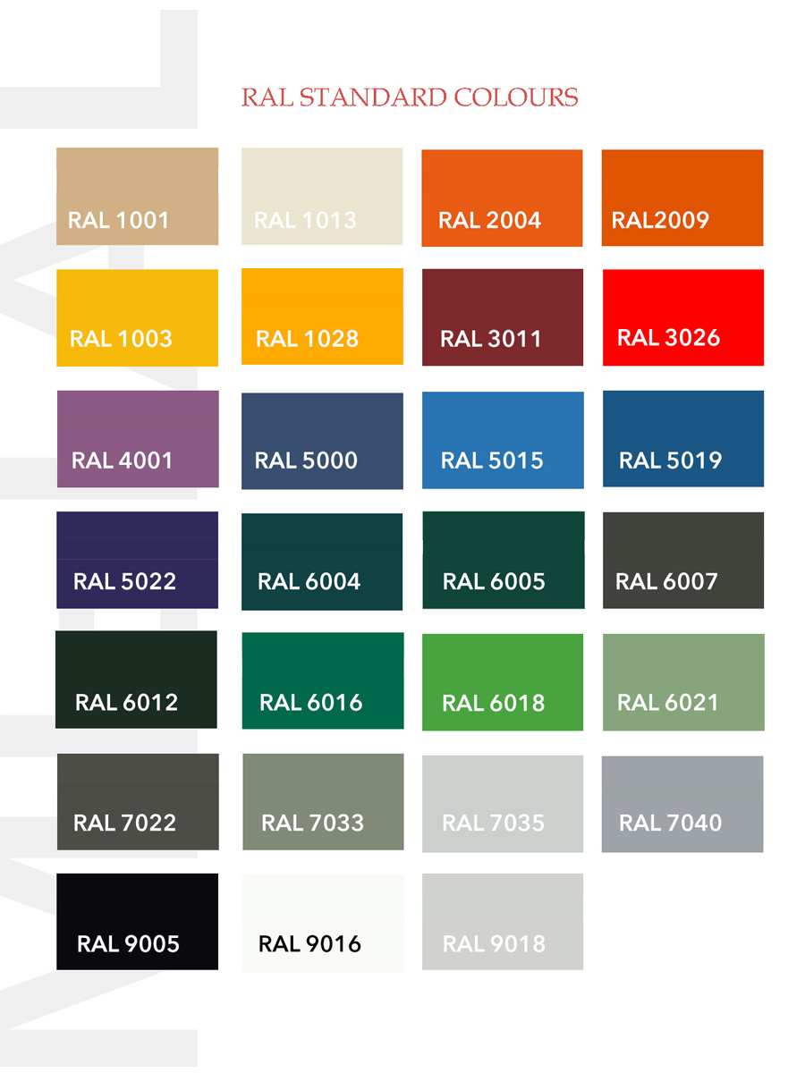 Color chart Options standard colors